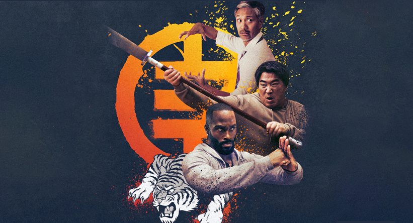 The Paper Tigers poster depicting three figures in martial arts poses